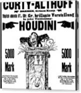 Vintage Poster Advertising A Performance By Houdini, 1922 Canvas Print