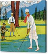 Vintage Poster Advertising Samaden In Switzerland Canvas Print
