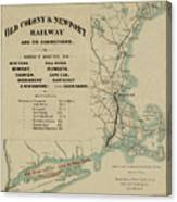 Vintage Railway Map 1865 Canvas Print