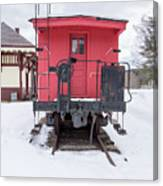 Vintage Red Caboose In The Snow Canvas Print