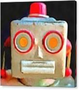 Vintage Robot Toy Square Pop Art Canvas Print