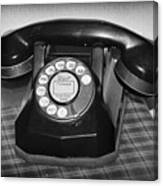 Vintage Rotary Phone Black And White Canvas Print