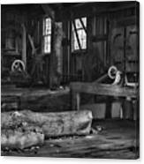 Vintage Sawmill In Black And White Canvas Print