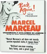 Vintage Show Poster Marcel Marceau Canvas Print