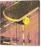 Vintage Skateboard Ruling The Road Canvas Print