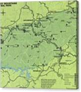 Vintage Smoky Mountains National Park Map Canvas Print