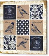 Vintage Songbirds Patch Canvas Print