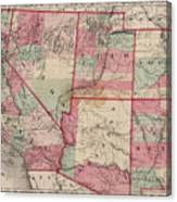 Vintage Southwestern United States Map - 1869 Canvas Print