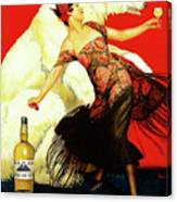Vintage Spanish Liquor Ad, Flamenco Dancer, Polar Bear Canvas Print