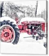 Vintage Tractor Christmas Canvas Print