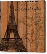 Vintage Travel Paris Canvas Print