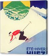 Vintage Travel Skiing Canvas Print