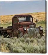 Vintage Truck In Field Canvas Print