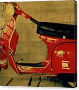 Vintage Vespa Scooter Red Canvas Print