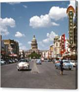 Vintage View Downtown Austin Looking Up Congress Avenue In Front Canvas Print