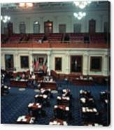 Vintage View Of The Senate Chamber, The Texas Capitol, May 1990 Canvas Print