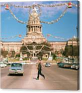 Vintage View Of The Texas State Capitol And Christmas Decorations Strung Along Congress Avenue From December 1960 Canvas Print