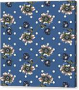 Vintage Wallpaper Seamless Rose Flower Pattern On Circles Polka  Canvas Print