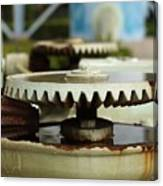 Vintage Water Pump With Gears Canvas Print