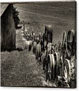 Vintage Wheel Fence Canvas Print