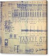 Vintage yankee stadium blueprint drawing by peter gumaer ogden vintage yankee stadium blueprint canvas print malvernweather Choice Image