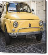 Vintage Yellow Fiat 500 In Rome Canvas Print