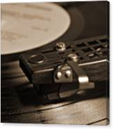 Vinyl Record Playing On A Turntable In Sepia Canvas Print