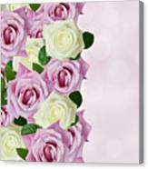Violet  And White Roses Canvas Print