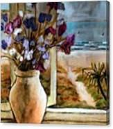 Violet Beach Flowers Canvas Print