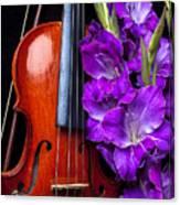 Violin And Purple Glads Canvas Print