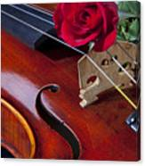 Violin And Red Rose Canvas Print