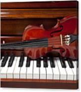 Violin On Piano Canvas Print
