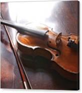 Violin On Table Canvas Print