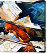 Violin - Palette Knife Oil Painting On Canvas By Leonid Afremov Canvas Print