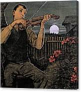 Violin Player To The Moon Canvas Print