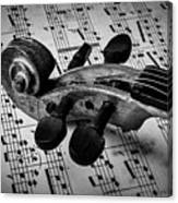 Violin Scroll On Sheet Music Canvas Print