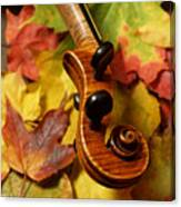 Violin Scroll With Fall Maple Leaves Canvas Print