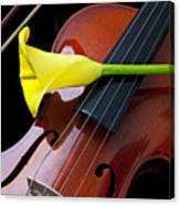 Violin With Yellow Calla Lily Canvas Print