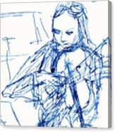 Violinist In Blue II Canvas Print