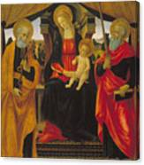 Virgin And Child Between Saint Peter And Saint Paul Canvas Print