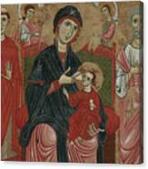 Virgin And Child Enthroned With Saints Leonard And Peter And Scenes From The Life Of Saint Peter Canvas Print