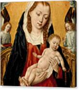 Virgin And Child With Two Angels Canvas Print