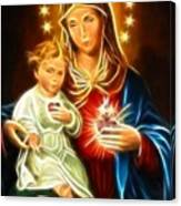 Virgin Mary And Baby Jesus Sacred Heart Canvas Print