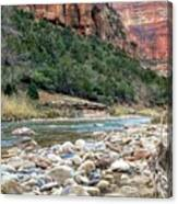 Virgin River In Zion Canyon Canvas Print