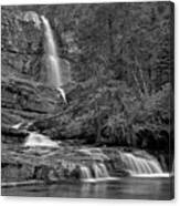 Virgina Falls In The Pool - Black And White Canvas Print