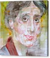 Virginia Woolf - Watercolor Portrait.7 Canvas Print