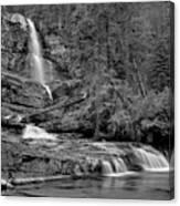 Virgnia Falls Pool - Black And White Canvas Print