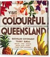 Visit Colorful Queensland - Vintage Poster Folded Canvas Print