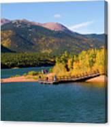 Visitors At Pikes Peak And Crystal Reservoir Canvas Print