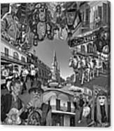 Vive Les French Quarter Monochrome Canvas Print
